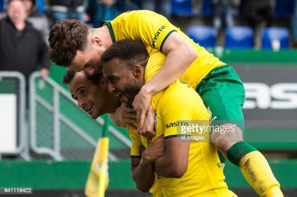 Lars Hutten of Fortuna Sittard Jorrit Smeets of Fortuna Sittard Lisandro Semedo of Fortuna Sittard during the Jupiler League match between Fortuna...