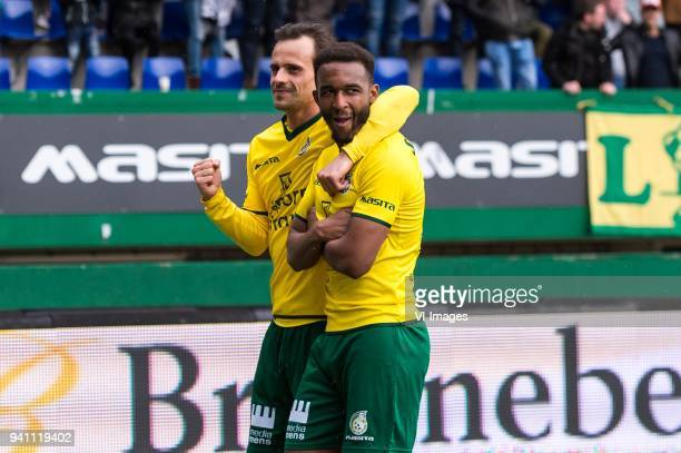 Lars Hutten of Fortuna Sittard Lisandro Semedo of Fortuna Sittard during the Jupiler League match between Fortuna Sittard and Helmond Sport at the...
