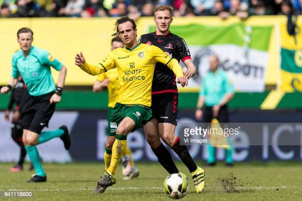 Lars Hutten of Fortuna Sittard Robert van Koesveld of Helmond Sport during the Jupiler League match between Fortuna Sittard and Helmond Sport at the...