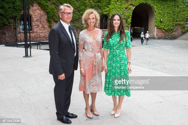 Lars Kihlstrom Burenstam Johanna Adami and Princess Sofia of Sweden attend the Sophiahemmet University's graduation ceremony and is greeted by...