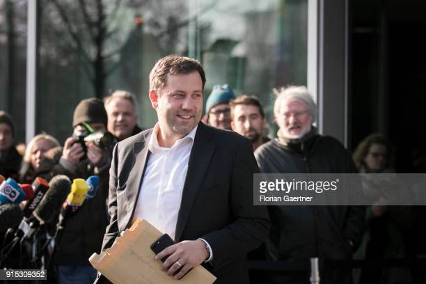 Lars Klingbeil General Secretary of the SPD leaves the party headquarter of the CDU during the coalition negotiations on February 07 2018 in Berlin...