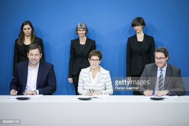 Lars Klingbeil Secretary General of the SPD party Annegret KrampKarrenbauer CDU Secretary General of the CDU and the designated German Transport...