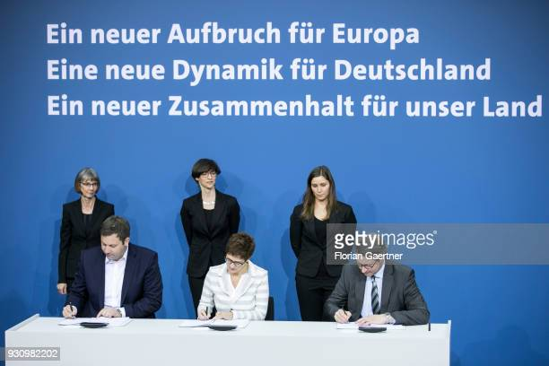 Lars Klingbeil Secretary General of the SPD party Annegret KrampKarrenbauer CDU Secretary General of the CDU and the designated German Transport...