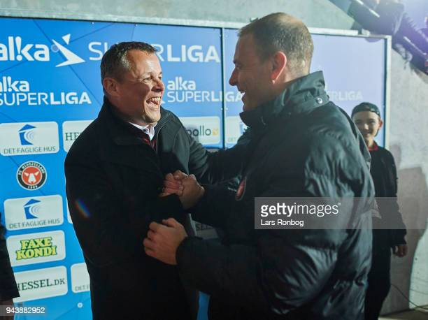 Lars Krarup mayor of Herning and Jess Thorup head coach of FC Midtjylland celebrate after the Danish Alka Superliga match between FC Midtjylland and...
