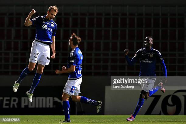 Lars Krogh Gerson of GIF Sundsvall is react after his 01 goal during the Allsvenskan match between Helsingborgs IF and GIF Sundsvall at Olympia...