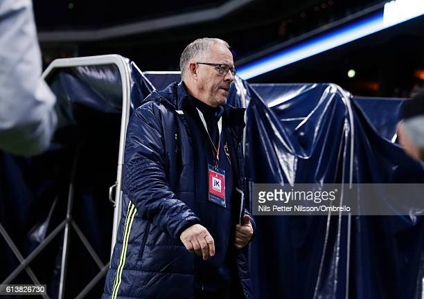 Lars Lagerback advisor to team Sweden during the FIFA 2018 World Cup Qualifier between Sweden and Bulgaria at Friends Arena on October 10 2016 in...
