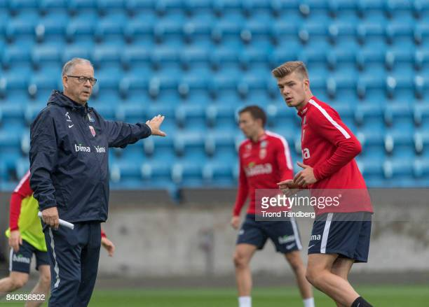 Lars Lagerback Alexander Soerloth of Norway during the FIFA 2018 World Cup Qualifier training between Norway and Aserbajdsjan at Ullevaal Stadion on...