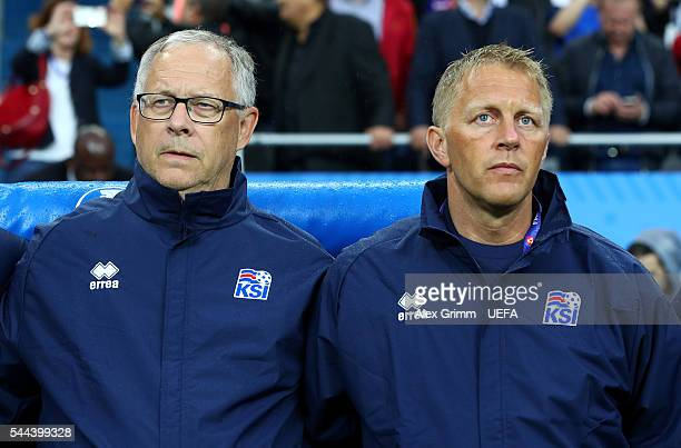Lars Lagerback and Heimir Hallgrimsson head coaches of Iceland are seen prior to the UEFA EURO 2016 quarter final match between France and Iceland at...