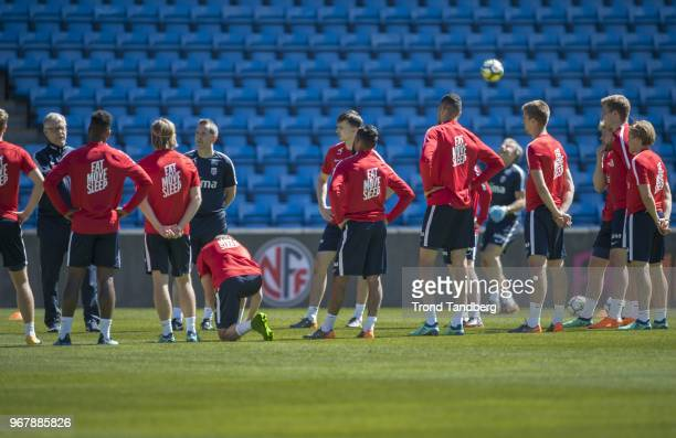 Lars Lagerback and Team of Norway during training at Ullevaal Stadion on June 5 2018 in Oslo Norway