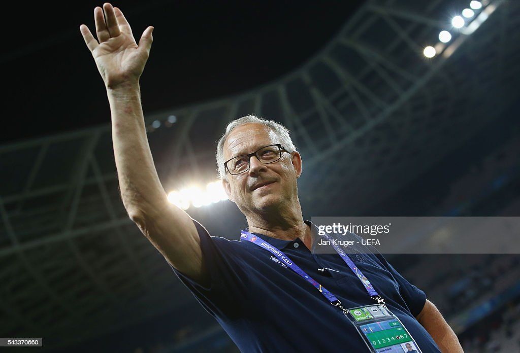 Lars Lagerback head coach of Iceland celebrates after the UEFA EURO 2016 round of 16 match between England and Iceland at Allianz Riviera Stadium on June 27, 2016 in Nice, France.