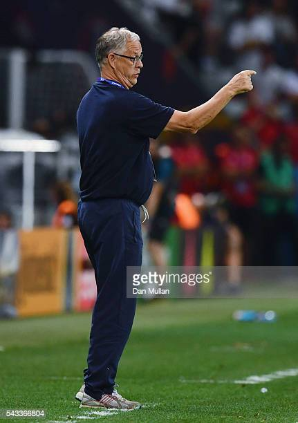 Lars Lagerback head coach of Iceland gestures during the UEFA EURO 2016 round of 16 match between England and Iceland at Allianz Riviera Stadium on...