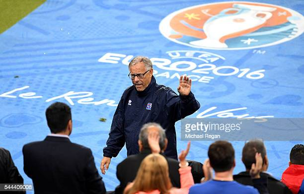 Lars Lagerback head coach of Iceland waves to fans after the UEFA EURO 2016 quarter final match between France and Iceland at Stade de France on July...