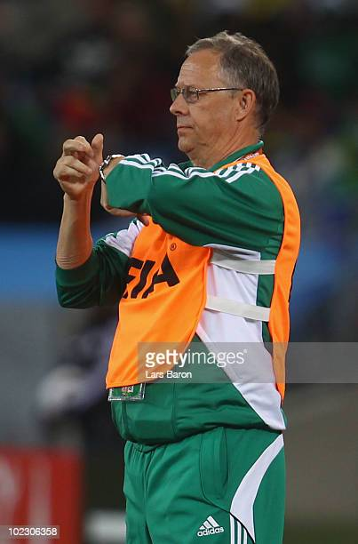 Lars Lagerback head coach of Nigeria gestures to his team during the 2010 FIFA World Cup South Africa Group B match between Nigeria and South Korea...