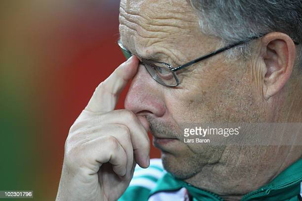 Lars Lagerback head coach of Nigeria looks thoughtful during the 2010 FIFA World Cup South Africa Group B match between Nigeria and South Korea at...