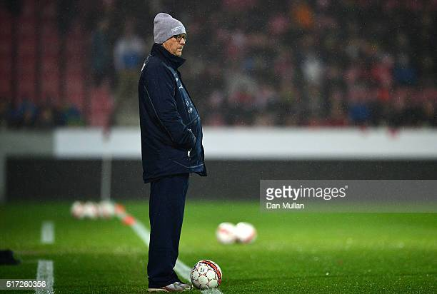 Lars Lagerback Joint Head Coach of Iceland looks on prior to the International Friendly match between Denmark and Iceland at the MCH Arena on March...