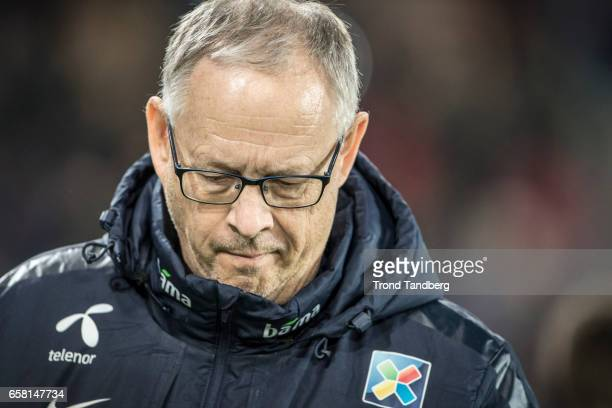 Lars Lagerback of Norway during the FIFA 2018 World Cup Qualifier between Northern Ireland and Norway at Windsor Park on March 26 2017 in Belfast...