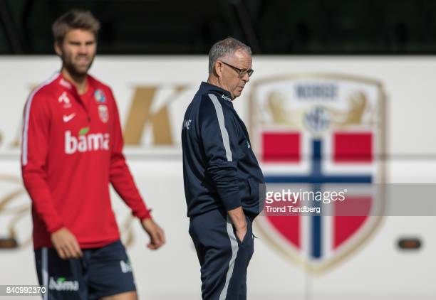 Lars Lagerback of Norway during the FIFA 2018 World Cup Qualifier training between Norway and Azerbaijan at Bislett Stadion on August 30 2017 in Oslo