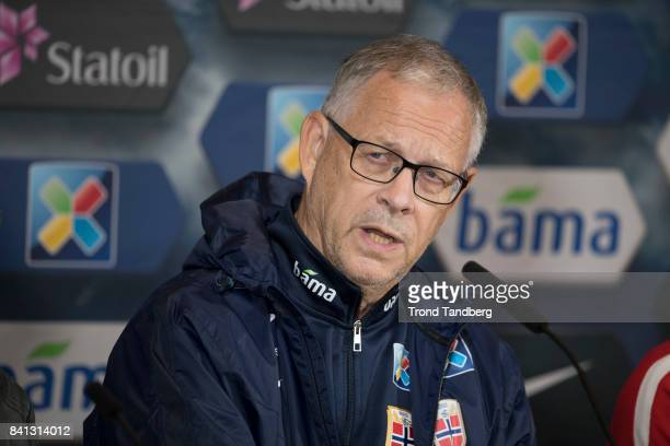 Lars Lagerback of Norway during the FIFA 2018 World Cup Qualifier training / press meeting between Norway and Aserbajdsjan at Ullevaal Stadion on...
