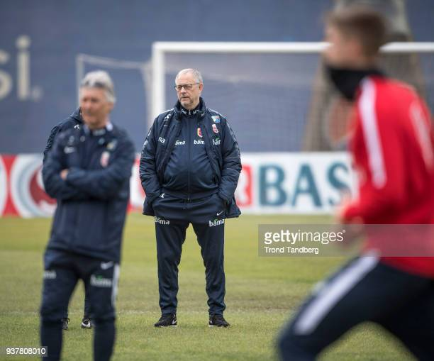 Lars Lagerback of Norway during training ahead of their match against Albania on March 25 2018 in Tirana Albania