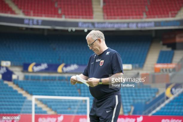 Lars Lagerback of Norway during training session before Iceland v Norway at Ullevaal Stadion on May 29 2018 in Oslo Norway