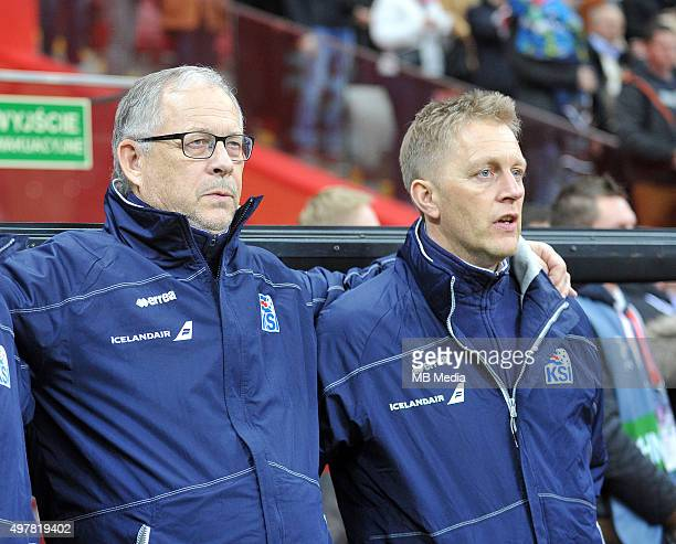 Lars LagerbackHead Coach of Iceland and Assistant Heimir Hallgrimsson look on before the international friendly match against Poland on November 13...