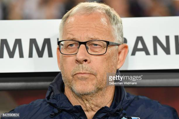 Lars Lagerbaeck national coach of Norway during the FIFA 2018 World Cup Qualifier between Germany and Norway at MercedesBenz Arena on September 4...