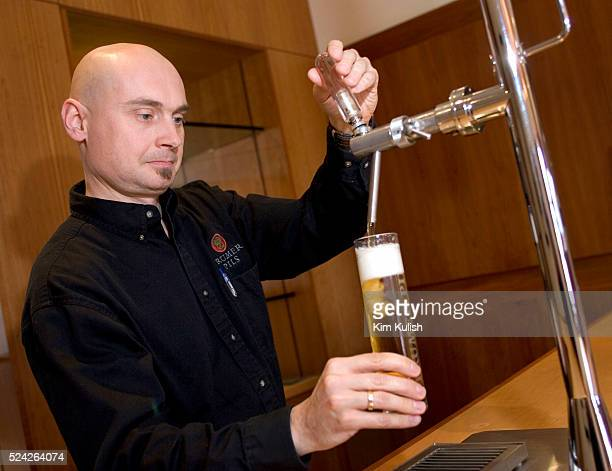 Lars Larsen the brewmaster at Trumer Brauerei in Berkeley Calif pours a fresh beer from the tap They produce a pilsner beer at their Bay Area facility