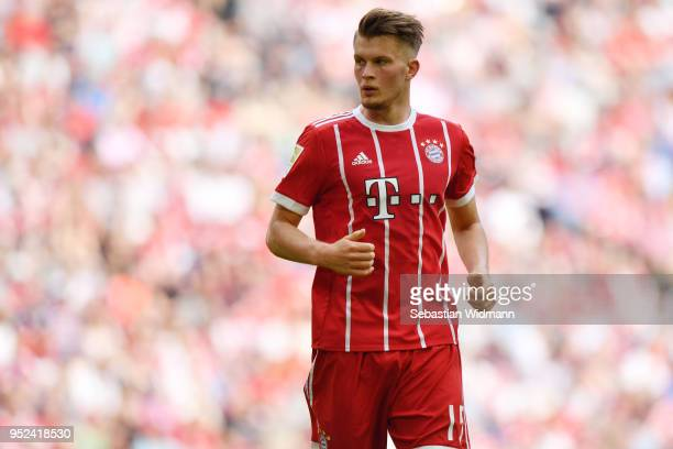 Lars Lukas Mai of Bayern Muenchen looks on during the Bundesliga match between FC Bayern Muenchen and Eintracht Frankfurt at Allianz Arena on April...