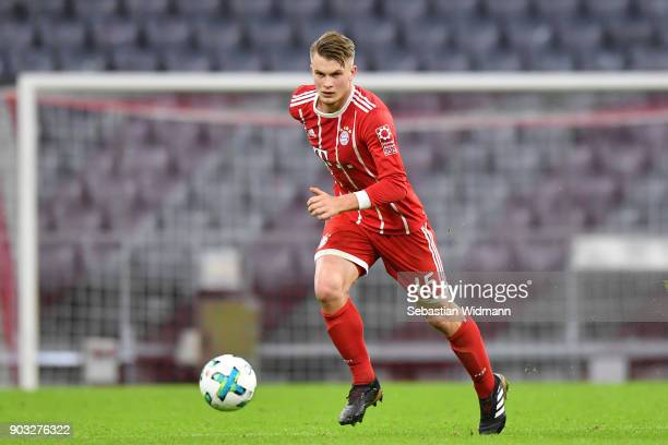 Lars Lukas Mai of Bayern Muenchen plays the ball during the friendly match between Bayern Muenchen and SG Sonnenhof Grossaspach at Allianz Arena on...