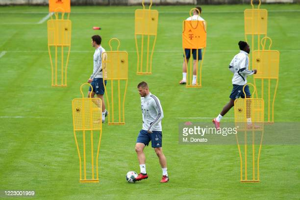 Lars Lukas Mai of FC Bayern Muenchen controls the ball during a training session at Saebener Strasse training ground on May 05, 2020 in Munich,...