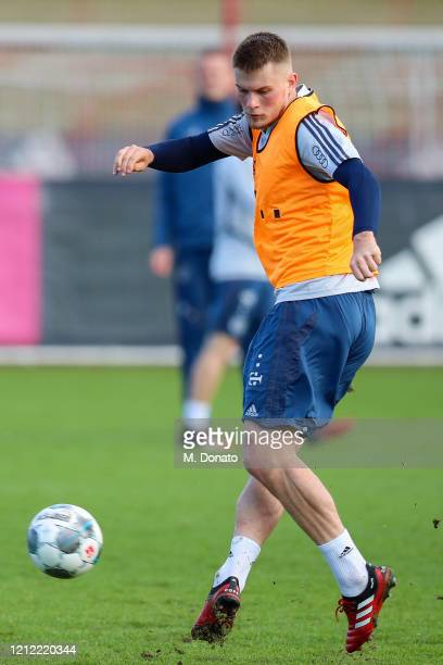 Lars Lukas Mai of FC Bayern Muenchen plays the ball during a training session at Saebener Strasse training ground on March 13 2020 in Munich Germany