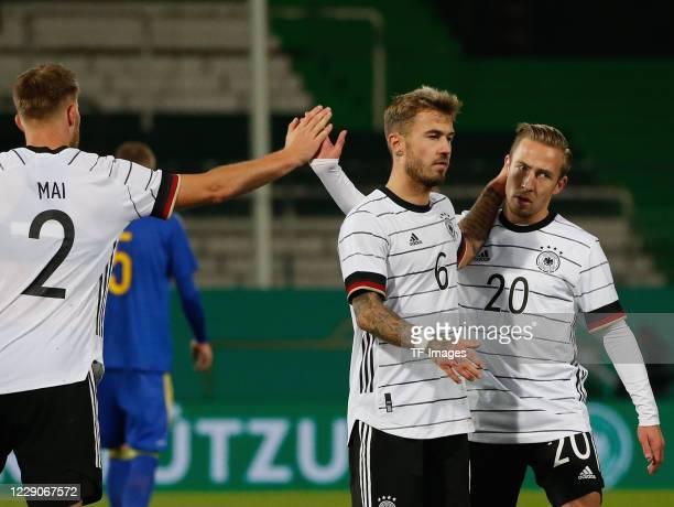 Lars Lukas Mai of Germany and Felix Passlack of Germany and Niklas Dorsch of Germany after the UEFA Euro Under 21 Qualifier match between Germany U21...