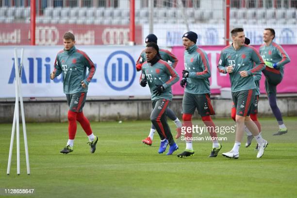 Lars Lukas Mai Renato Sanches Javier Martinez and Niklas Suele of Bayern Munich run during a FC Bayern Muenchen training session at Saebener Strasse...