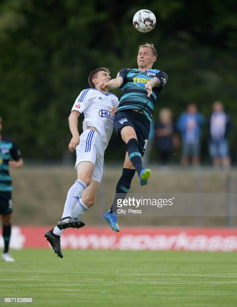 Lars Mueller of MSV Neuruppin and Ondrej Duda of Hertha BSC during the game between MSV Neuruppin against Hertha BSC at the VolksparStadion on july...