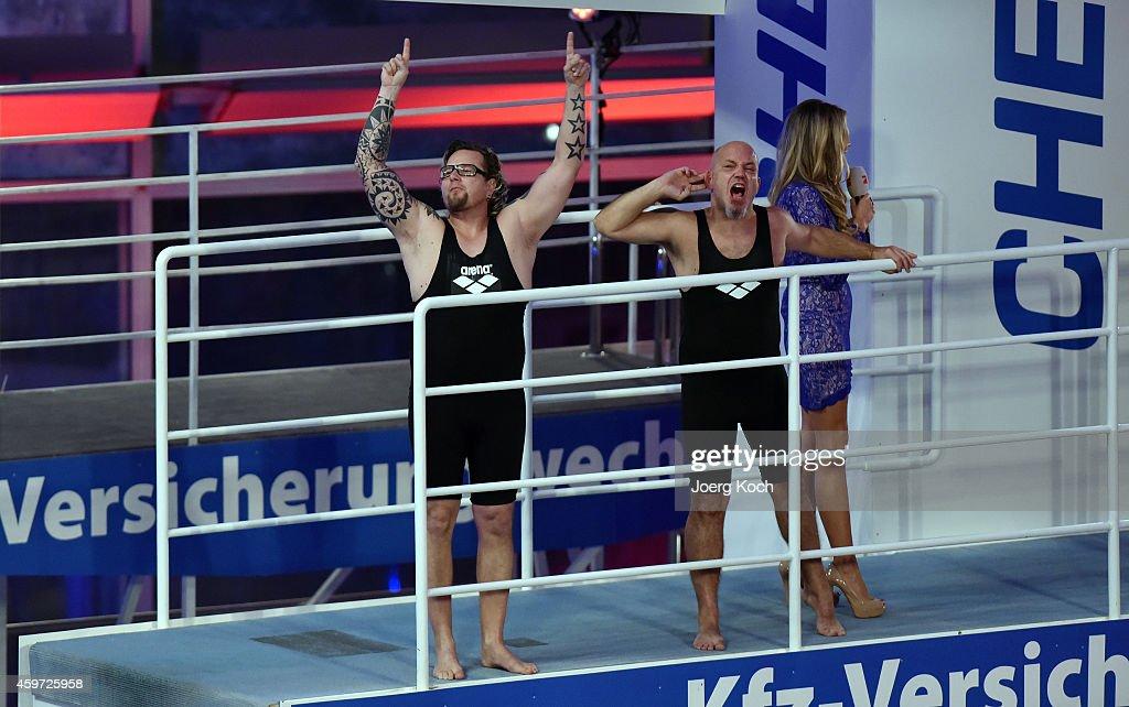 Lars Niedereichholz (R) and Ande Werner attend the TV show 'TV Total Turmspringen' ('TV Total high diving') on November 29, 2014 in Munich, Germany.