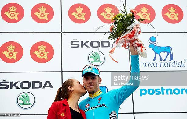 Lars of Team Astana on the podium as winner of Stage 1 of the 2015 Tour of Denmark a 180km stage from Struer to Holstebro on August 4 2015 in...