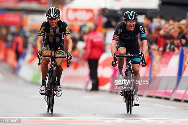 Lars Petter Nordhaug of Norway and Team SKY crosses the finish line during the 101st Liege-Bastogne-Liege cycle race on April 26, 2015 in Liege,...