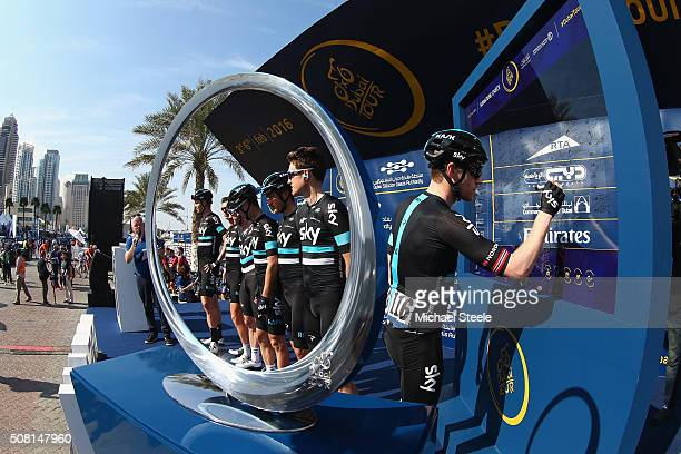 Lars Petter Nordhaug of Norway and Team Sky signs on ahead of the Dubai Silicon Oasis Stage One of the Tour of Dubai on February 3, 2016 in Dubai,...