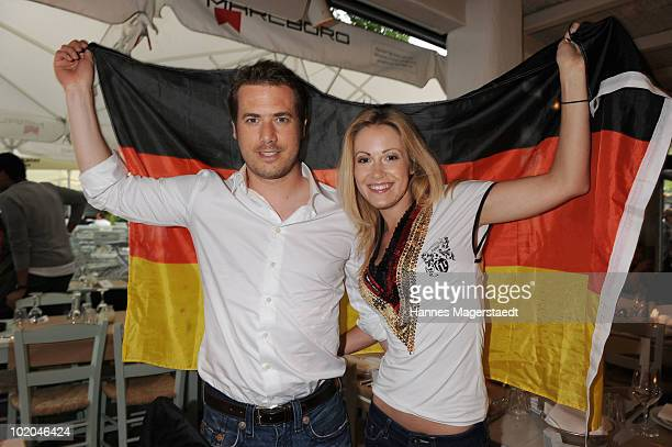 Lars Ricken and girlfriend Andrea Kaiser attend the public viewing party for the first match of the German team during the world cup 2010 at the...