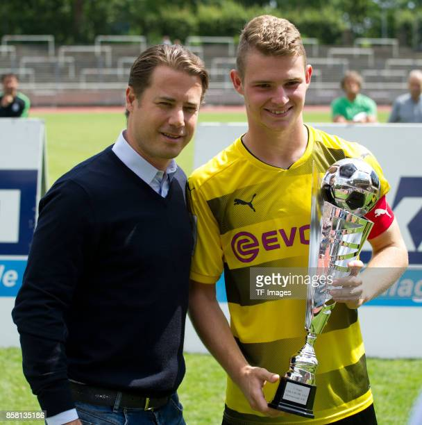Lars Ricken and Julian Schermann of Dortmund looks on during the EMKA RUHRCup International Final match between Borussia Dortmund U19 and Real Madrid...