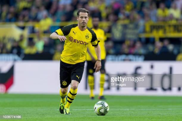Lars Ricken of Borussia Dortmund Allstars controls the ball during the Roman Weidenfeller Farewell Match between BVB Allstars and Roman and Friends...