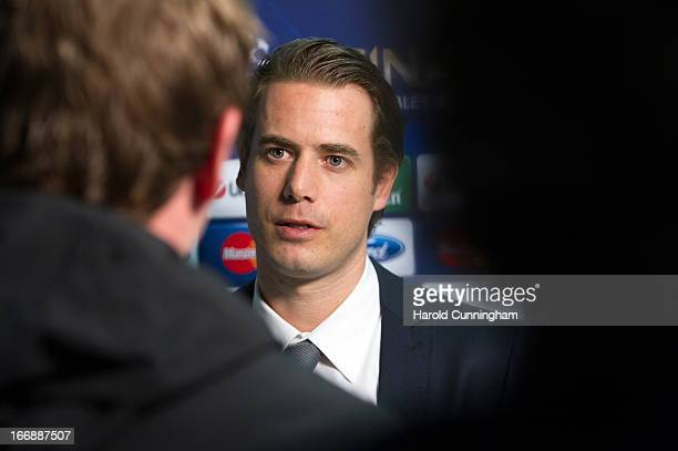 Lars Ricken of Borussia Dortmund looks on during an interview after to the UEFA Champions League and UEFA Europa League semifinal and final draws at...