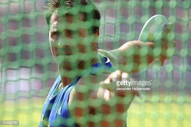 Lars Riedel of Germany in action enroute to winning the mens discus throw competition during the German National Athletics Championship on July 15...