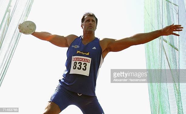 Lars Riedel of Germany wins the mens discus throw competition during the German National Athletics Championship on July 15 2006 in Ulm Germany