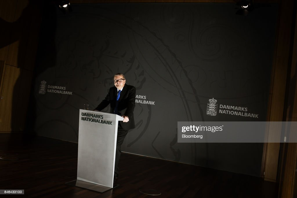 Lars Rohde, governor of Denmark's central bank, pauses during a news conference at the bank's headquarters in Copenhagen, Denmark, on Wednesday, Sept. 13, 2017. 'We have previously seen that the economy can overheat vigorously and suddenly when it is booming, Rohdesaid in a statement on Wednesday.Photographer: Carsten Snejbjerg/Bloomberg via Getty Images