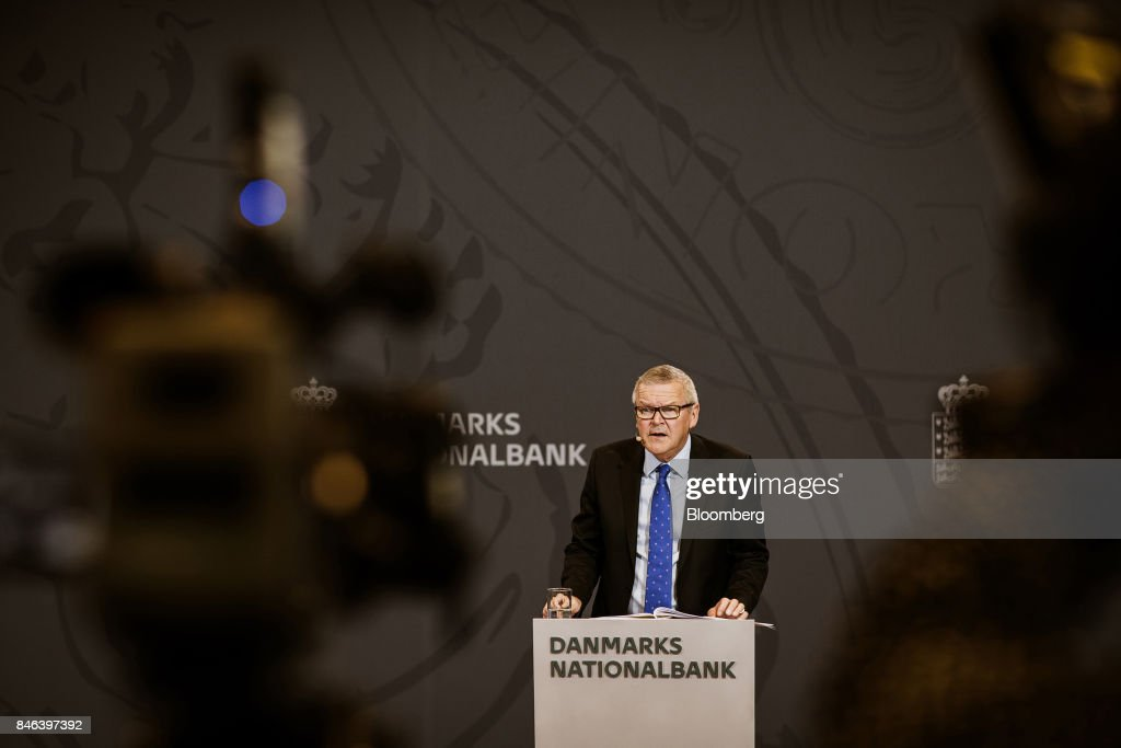 Lars Rohde, governor of Denmark's central bank, speaks during a news conference at the bank's headquarters in Copenhagen, Denmark, on Wednesday, Sept. 13, 2017. 'We have previously seen that the economy can overheat vigorously and suddenly when it is booming, Rohdesaid in a statement on Wednesday.Photographer: Carsten Snejbjerg/Bloomberg via Getty Images