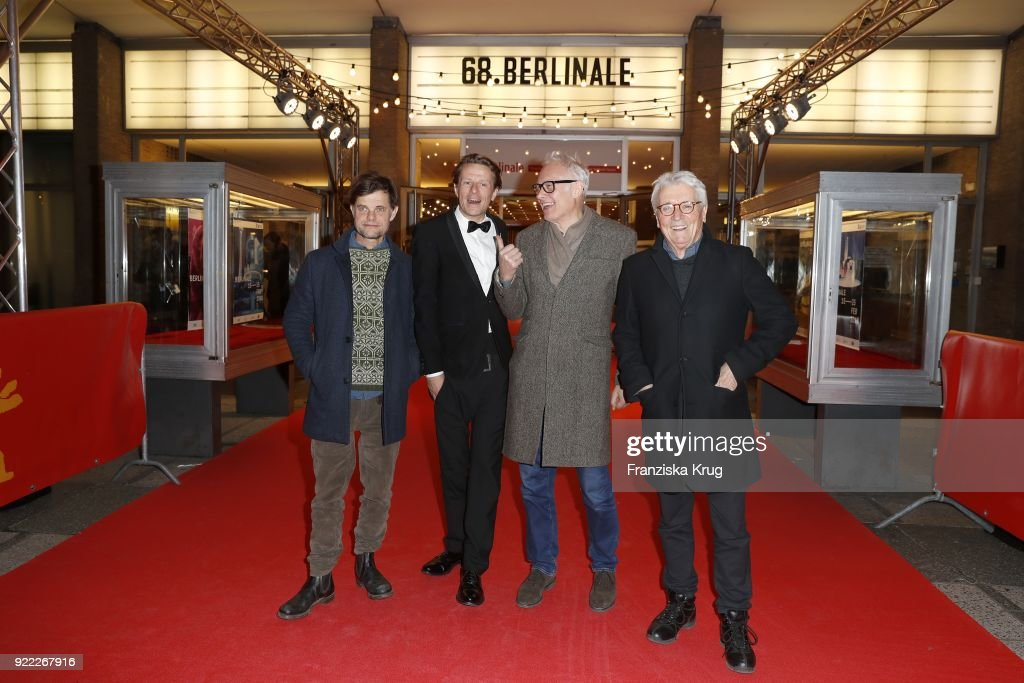 Lars Rudolph, Alexander Scheer, Herbert Fritsch and Henry Huebchen attend the 'Partisan' premiere during the 68th Berlinale International Film Festival Berlin at Kino International on February 21, 2018 in Berlin, Germany.