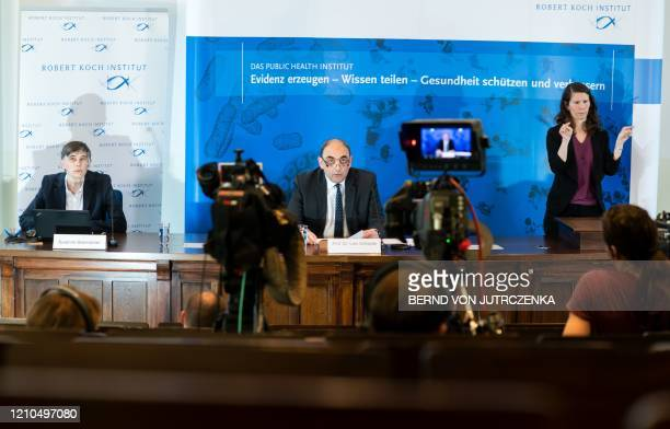 Lars Schaade, vice- president of the Robert-Koch-Institute addresses the media during a press conference in Berlin on April 21, 2020 on the current...