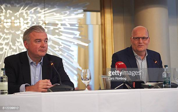 Lars Seier Christensen and Bjarne Riis speaks to the media during the presentation of the company Riis-Seier Press Conference at Hotel d'Angleterre...