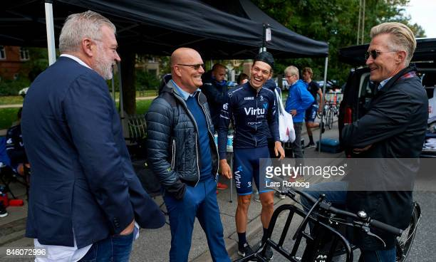 Lars Seier Christensen, Bjarne Riis, Alexander Kamp of Team Virtu Cycling and Brian Holm speaking to each other prior to stage one of Tour of Denmark...